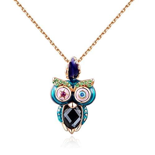 Monogrammed Wooden Pendant (AROUND 101 Swarovski Elements Colorful Owl AAA Zircon Pendant Necklace)