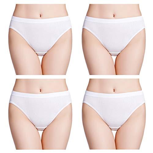 wirarpa Womens Soft 100 Cotton Underwear Panties Ladies High Cut White Briefs 4 Pack Size 9