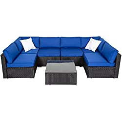 Peach Tree 7 PCs Garden Furniture PE Rattan Wicker Sofa Sectional Furniture Cushioned Deck Couch Set Bright Blue