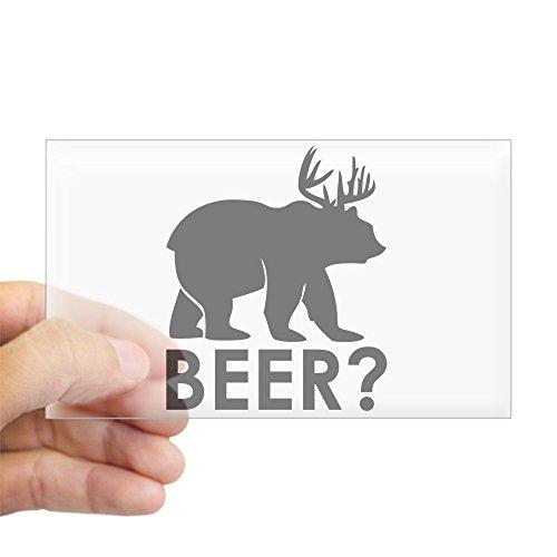 Sticker Clear (Rectangle) Deer Plus Bear Equals BEER!