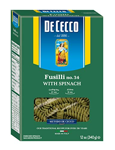 (De Cecco Spinach Pasta, Fusilli No.34,  12 Ounce (Pack of 12))