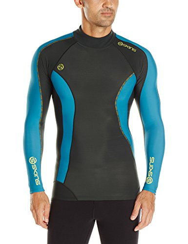 SKINS Men's DNAmic Thermal Compression Long Sleeve Mock Neck Top, Alpine, Small (Soccer Neck Thermal)