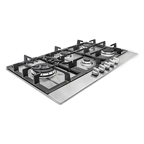 Cosmo 850SLTX-E 30 in. Professional Style Gas Cooktop, 5 Performance Burners with Iron Grates, Metal Knobs in Stainless Steel