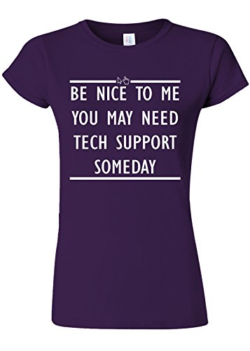 アンタゴニストオークションのどBe Nice To Me Tech Support IT Novelty Purple Women T Shirt Top-XXL