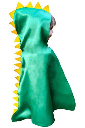 Dinosaur Cape Costume Easter gift Hood with Spikes Boy Girl Toddler Gift Green for Imaginative Easy Play