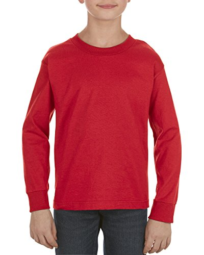 (Alstyle Apparel AAA Big Boys' Youth Classic Long Sleeve T-Shirt, Red, Large)