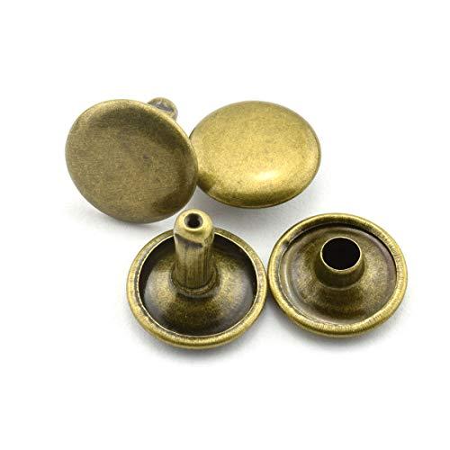 RuiLing 120pcs 12x12mm Bronze Double Cap Rapid Rivets Round Head Decorative Rivets DIY Leather Craft Studs 1/2 inch