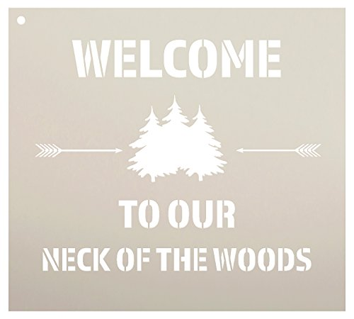 Retreat Wood Sign - Welcome to Our Neck of The Woods - Trees & Arrows Stencil by StudioR12 | Reusable Mylar Template | Use to Paint Wood Signs | DIY Country Decor - Select Size (10
