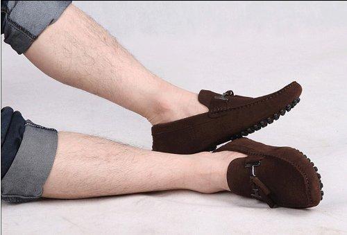 Happyshop (tm) Heren Mocassins Suede Instapper Schoenen Slip-on Rijschoenen Eur Maat 38-45 Bruin