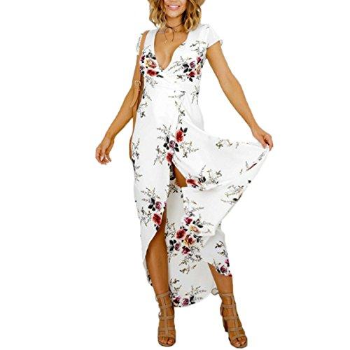 Women's Deep v Neck Floral Tie Waist Split Wrap Flowy Party Long Beach Maxi Dress (M)
