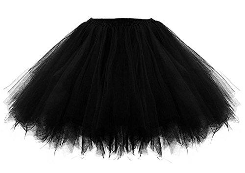 [Lamgo Women 80's Bubble Tulle Tutu Skirt Underskirt Petticoat Crinoline Costume Black 3X] (Plus Size Tutu Skirt)