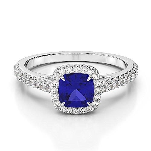 G-H/VS 1CT Coussin Coupe sertie de diamants et saphir Bague de fiançailles en platine 950Agdr-1212
