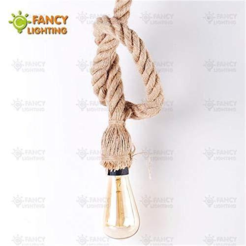 Cocas Vintage Hemp-Rope Pendant lamp E27 Loft Hanging lamp for Home/Living Room/diningRoom/Bedroom Decor Industrial luminaire suspendu - (Body Color: Single Head Thick ro)
