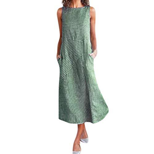 - KLHNU Women's Casual Striped Sleeveless Crew Neck Linen Pocket Long Dress(Green,XXL)