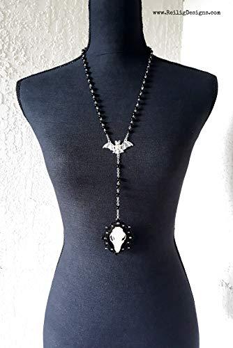 Real Bat Skull Necklace Old World Fruit Bat Large Bat Skull Taxidermy Bat Necklace Bat Jewelry Skull Necklace Black Skull Necklace Gothic Rosary