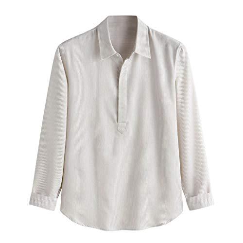 TUSANG Men Tees Baggy Stripe Cotton Linen Long Sleeve Button Plus Size T Shirts Tops Slim Fit Comfy Tunic(Khaki,US-8/CN-L)