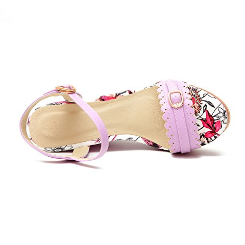 Amoonyfashion Womens Assorted Colour Blend Materials Hoge Hakken Open Teen Sandalen Paars