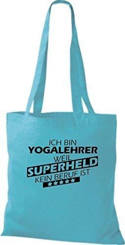 Stoffbeutel Ich bin Yogalehrer, weil Superheld kein Beruf ist Hellblau