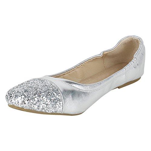 Stiefelparadies Klassische Damen Ballerinas Flats Leder-Optik Lack Metallic Schuhe Glitzer Slipper Slip Ons Übergrößen Abiball Flandell Silber Silber Glitzer