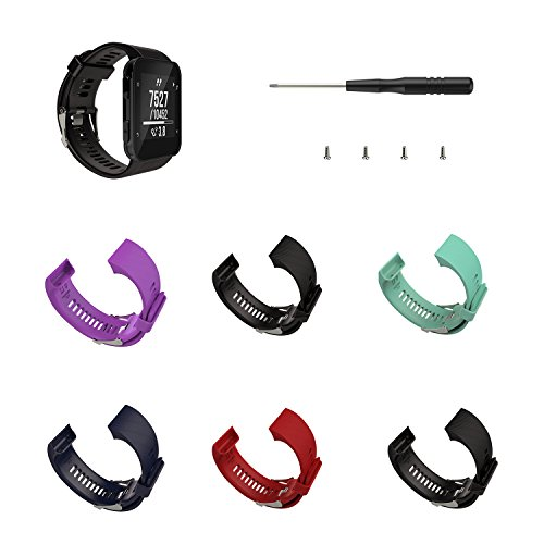 Wearable4U Soft Adjustable Silicone Replacement Watch Band for Garmin Forerunner 35 watch