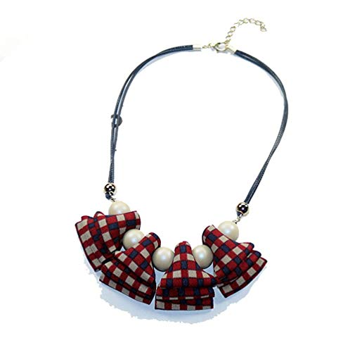 Sweet Woman Necklaces Knitted Plaid Ribbon Beads Pendant Short Rope Chain Sweater Necklace Accessories Red ()