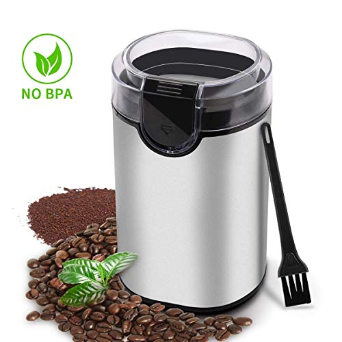 Morpilot Electric Coffee Grinder,150w Stainless Steel Blades Grinder with Coffee Bean Grinders for Spices, Herbs, Nuts, Grains-Includes a Cleaning Brush