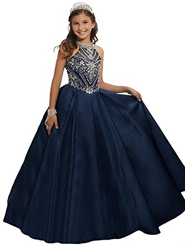 - Juniors High Collar Satin Floor Length Formal Gowns 2018 Pageant Dresses 8 US Navy