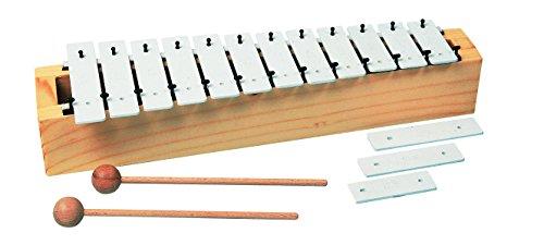 Goldon 11090 12 Plus 3 Sound Plates Soprano Metallophone with Firewood Soundbox - White by Goldon