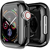 Smiling Apple Watch 4 Case with Buit in TPU Screen Protector 44mm- All Around Protective Case High Definition Clear Ultra-Thin Cover Apple iwatch 44mm Series 4(Black, 44mm)
