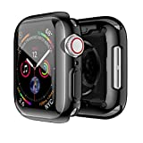 Smiling Black Case for Apple Watch Series 4 44mm with Buit in TPU Clear Screen Protector - All Around Protective Case High Definition Clear Ultra-Thin Cover for Apple iwatch 44mm Series 4
