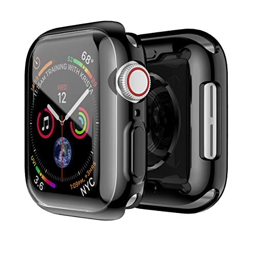 Ultra Slim Guard Skin - Smiling Black Case for Apple Watch Series 4 44mm with Buit in TPU Clear Screen Protector - All Around Protective Case High Definition Clear Ultra-Thin Cover for Apple iwatch 44mm Series 4