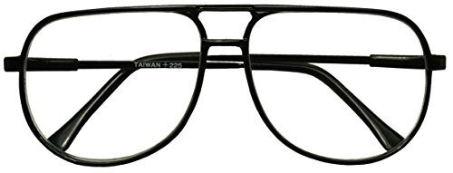 Classic 80s Vintage Oversized Optic Prescription Aviator Reading Eye Glasses Power +100 thru +325 (Tortoise (Bi-Focal), - Eyewear 80s
