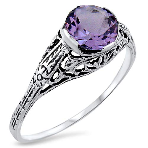 Genuine Brazilian Amethyst Antique Design 925 Sterling Silver Ring Sz 5.75 KN-4117