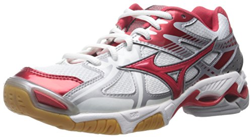 Mizuno Women's Wave Bolt 4 WH-RD Volleyball Shoe, White/Red, 8.5 D US by Mizuno