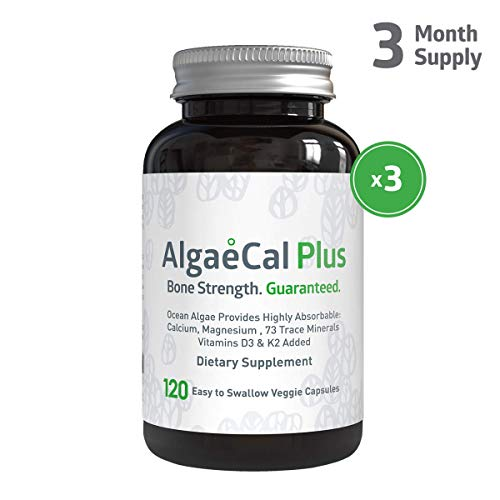 AlgaeCal Plus - Plant-Based Calcium Supplement with Magnesium, Boron, Vitamin K2 + D3 | Increases Bone Strength | All Natural Ingredients | Highly Absorbable | 120 Veggie Capsules per Bottle (3 Pack)