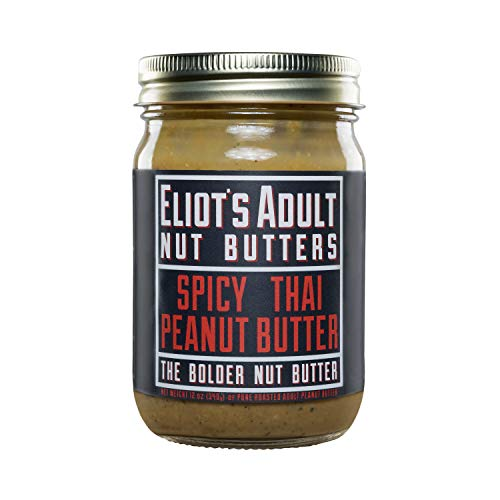 - Eliot's Adult Nut Butters Spicy Thai Peanut Butter, Non-GMO, Gluten Free, Vegan, Keto and Paleo Friendly, 12 Ounce
