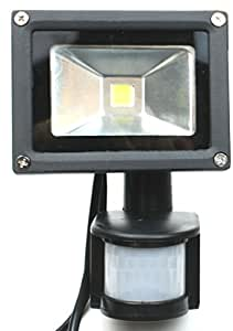 8 watt PoE LED Outdoor Flood light with PIR Motion Sensor Detection, Bright White Floodlight powered by PoE, with passthru to an IP Camera, Kit includes PoE Injector