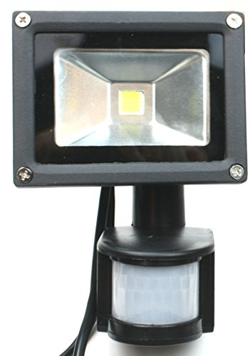 (8 watt PoE LED Outdoor Flood light with PIR Motion Sensor Detection, Bright White Floodlight powered by PoE, with passthru to an IP Camera, Kit includes PoE Injector)