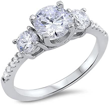 Round Cubic Zirconia Three Stones Design Ring Sterling Silver