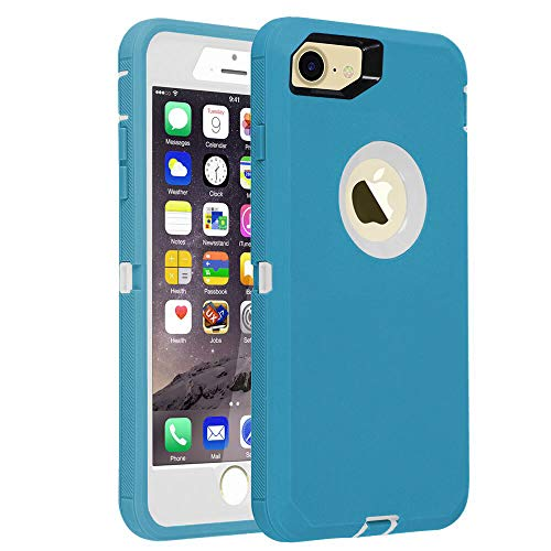 smartelf Case for iPhone 7/8 Heavy Duty With Built-in Screen Protector Shockproof Dust Drop Proof Protective Cover Hard Shell for Apple iPhone 7/8 4.7 inch-Blue/White