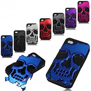 Skeleton Bone Design Combo Silicone Case Cover For iPhone 4 4S & Color = Black