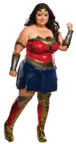 Plus Costumes Hero Super Size (Rubie's Women's Batman v Superman: Dawn of Justice Deluxe Wonder Woman Plus Size, Multi, One)