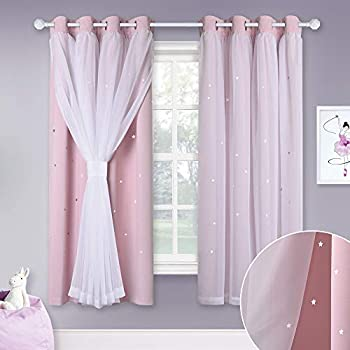 NICETOWN Double Layers Light Blocking Voile Overlay Princess Star Hollowed Curtain Lovely Girl Bedroom Room Shading with 4 Tie-Backs for Bedroom Window (Lavender Pink, Set of 2, W104 x L63)