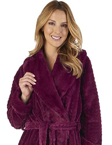 Slenderella Hc2343 Loungewear Damson Bath Dressing Faux Collar Women's Robe Gown BBvFr7qw