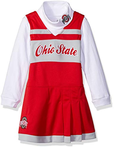 Ohio State Cheerleader Outfit - NCAA by Outerstuff NCAA Ohio State Buckeyes Toddler Girls Cheer Jumper Dress w/ Turtleneck Set, Red, 4T