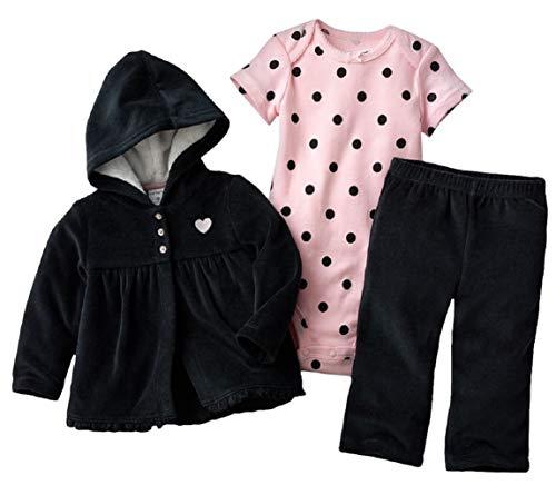 Dot Velour Pant - Carter's Baby Girls' 3-Piece Little Jacket Sets (Pink Dot, 12 Months)