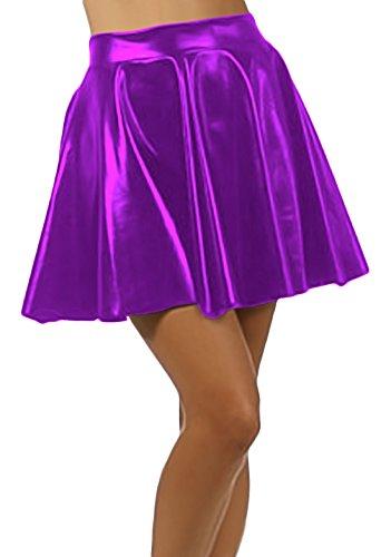 Marvoll Women's Club Metallic Shiny Skirt Circle Liquid Mini Wet Look (Kids Large, Purple)