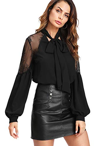 Floerns Women's Bow Tie Neck Long Sleeve Lace Chiffon Blouse Top Black M ()