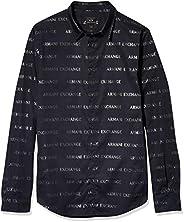 AX Armani Exchange Slim Fit Bold Logo Estampado Algodón elástico Manga Larga Tejido Camisa para Hombre