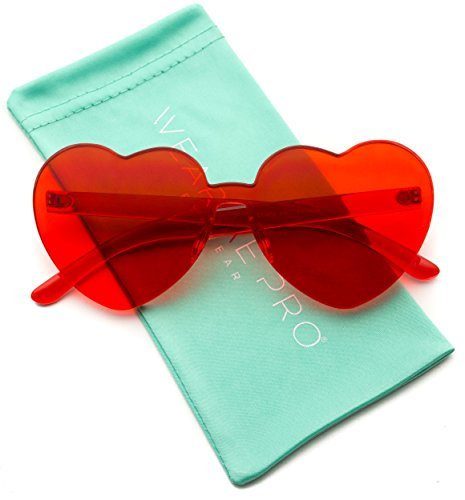 WearMe Pro - Heart Shaped Full Lens Transparent Colored Sunglasses (Red, - Sixties Sunglasses